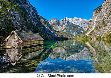 The beautiful Obersee in the Bavarian Alps