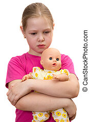 The beautiful sad girl with a doll