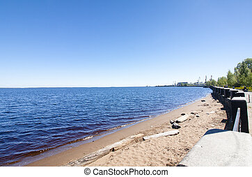 The beautiful shore of lake Onego in Petrozavodsk on summer. Russia.