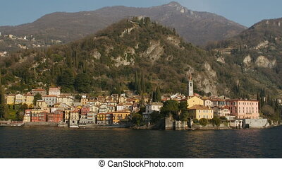 The beautiful shores of Lake Como with the town of Varenna.