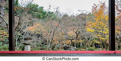 The beautiful sight of autumn maple foliage garden at Enkoji temple in Kyoto, Japan