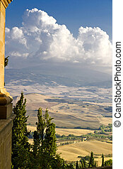 The beautiful view of Pienza, Tuscany, Italy. Landscape