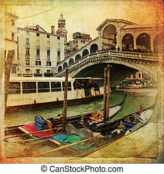 Venice, Italy - The beautiful view of Rialto's Bridge and...