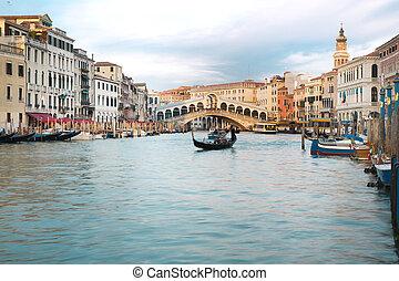 Venice, Italy - The beautiful view of Rialto's Bridge and ...