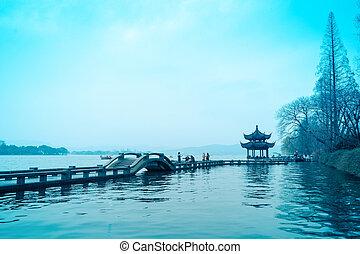 the beautiful west lake in hangzhou, China