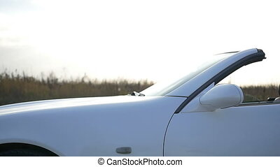 Beautiful white convertible closeup