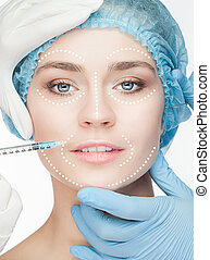 The beautiful woman before plastic surgery operation of cosmetology