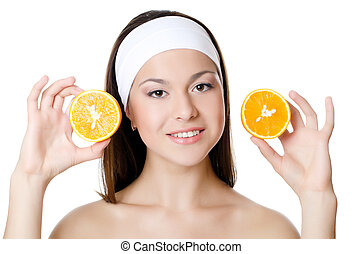 The beautiful woman with a orange