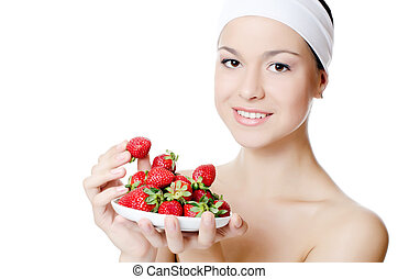 The beautiful woman with strawberry isolated