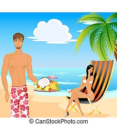 The beautiful young woman in a bathing suit and the man on a beach