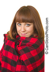 woman in checked plaid