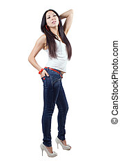 The beautiful young woman in jeans. Isolated