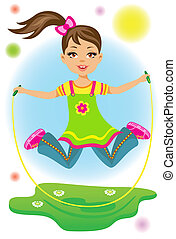 The beauty little girl jumps on a skipping rope