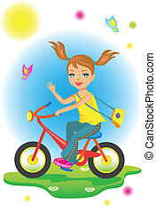 The beauty  little girl riding a bicycle