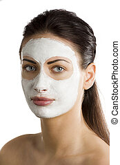 the beauty mask - young woman brunette with during a...