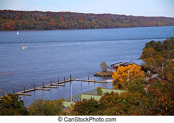 The beauty of Hudson river in fall