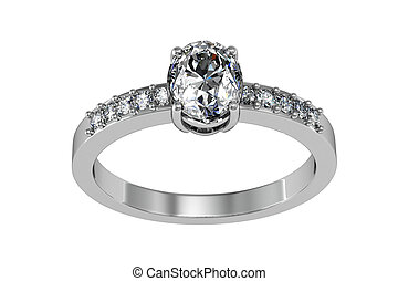 The beauty wedding ring - Jewelery ring on a white ...