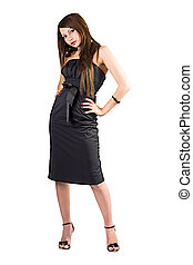 The beauty young woman in black dress. Isolated