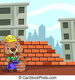 The beaver builder holding the bricks and cement for making a good wall