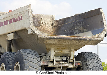 The bed of a dump truck