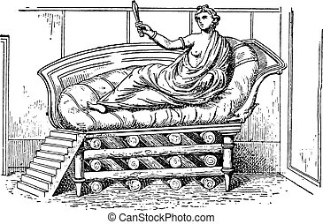 The bed of Dido, vintage engraving.