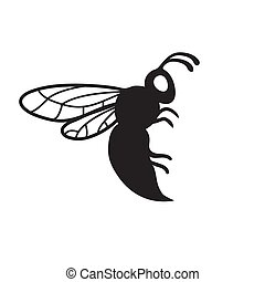 The bee silhouette icon is black on a white isolated background. Vector image