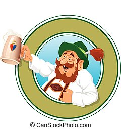 The jolly old Man with a Mug full of Beer, vector illustration