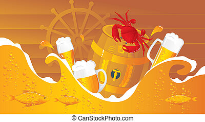 The beer sea with beer kegs, beer mugs and seafood in sea...