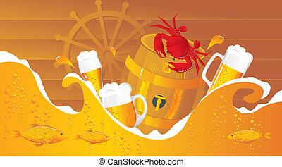 The beer sea with beer kegs, beer mugs and seafood in sea...