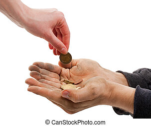The beggar - A beggar receiving money from a kind...