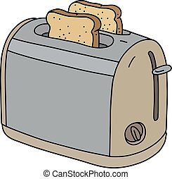 The beige electric toaster