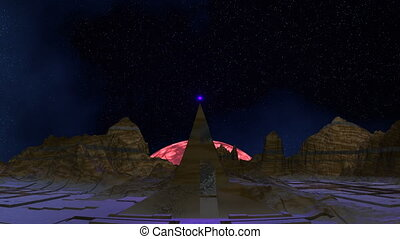 The being shone sphere (UFO) takes - Among mountains there...