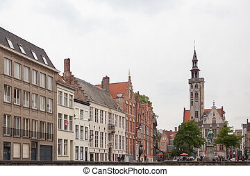 The belfry of Bruges is a medieval bell tower - Market...