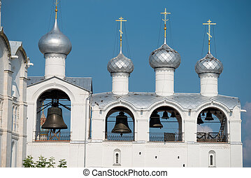 The belfry of the Dormition Cathedral in Kremlin of Rostov the Great as part of The Golden Ring's group of medieval towns of the northeast of Moscow, Russia. Included in the World Heritage list of UNESCO.