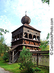 The belfry of the old wooden church in Hronsek, Slovakia