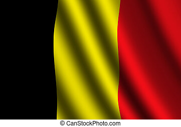 The Belgian flag flying in the wind.