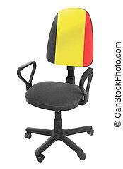 The Belgian flag - on the back of a chair. Isolated on white background.