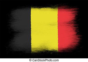 The Belgian flag - Painted grunge flag, brush strokes. Isolated on black background.