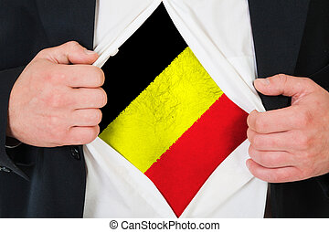 The Belgian flag painted on the chest of a man