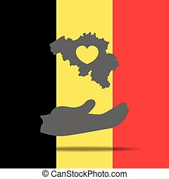 The Belgian flag with heart shape and Peace symbol illustration