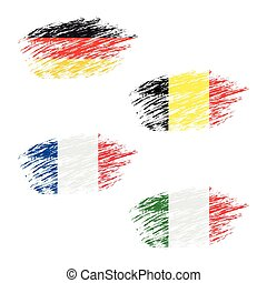 The Belgian, German, French and Italian flag in apperance streaks, set grunge flags, vector illustration