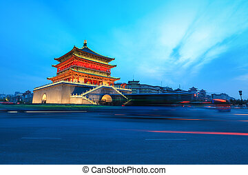 the bell tower at dusk in xian,China
