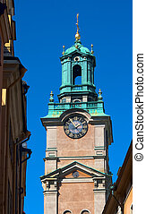 The bell tower of the church of St Nicholas