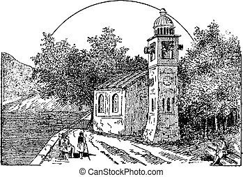 The bells of Pusiano, vintage engraving.