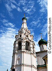 The Belltower of the Church of Elijah the Prophet in Yaroslavl, Russia