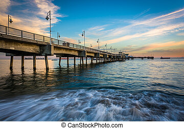 The Belmont Pier at sunset, in Long Beach, California.