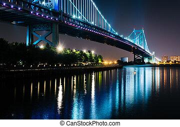 The Benjamin Franklin Bridge at night, in Philadelphia,...