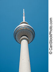 The Berlin Television tower (Fernsehturm) in Berlin, Germany -