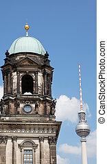 the Berliner Dom in Berlin - the Berliner Dom and TV tower...