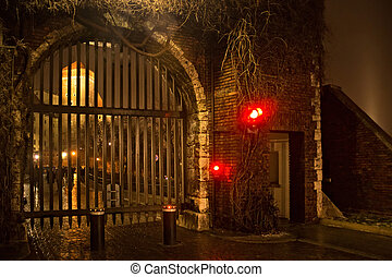 The Bernardine Gate of Wawel Royal castle with portcullis. Located in the southern part of the hill, near the Sandomierz tower. Built during the Nazi occupation on the site gate with a drawbridge.